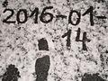 2016-01-14 written in snow for Wikipedia W 15 (= 2016-01-14 + 01) on sidewalk in Marburg-Ockershausen.JPG