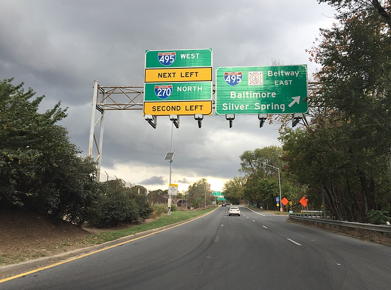 File:2016-10-21 13 42 22 View north along Maryland State Route 355 (Rockville Pike) at Interstate 495 (Capital Beltway) and Interstate 270 (Washington National Pike) in Bethesda, Montgomery County, Maryland.jpg