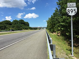 Virginia State Route 895 - View east along SR 895 just east of Laburnum Avenue