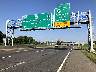 Pennsville Township, New Jersey - The southern end of the New Jersey Turnpike at its junction with southbound I-295 and westbound U.S. Route 40 just before Route 49 in Pennsville Township