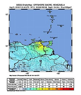 August 2018 Venezuela earthquakes earthquake that occurred in August 2018 in offshore Venezuela