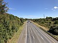2019-10-10 14 04 23 View east along the westbound lanes of Maryland State Route 32 (Patuxent Freeway) from the overpass for Broken Land Parkway in Columbia, Howard County, Maryland.jpg