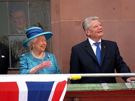 Gauck with Queen Elizabeth II at Romer, Frankfurt, during the 2015 royal visit to Germany. 25.Jun.2015 Queen Elizabeth II. and Prince Philip's visit to Frankfurt (18964921388).jpg