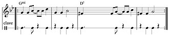 Clave (rhythm) - 3–2 piano guajeo: clave motif, written in cut-time.