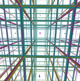 3-manifold - An image from inside a 3-torus. All of the cubes in the image are the same cube, since light in the manifold wraps around into closed loops, the effect is that the cube is tiling all of space. This space has finite volume and no boundary.