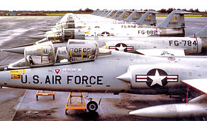 Oklahoma City Air Defense Sector - 331st Fighter-Interceptor Squadron Lockheed F-104A-15-LO Starfighters Webb AFB, Texas, February 1964. Aircraft shown TDY At Homestead AFB, Florida. Serials identified are 56-784 56-882 56-834