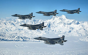 60th Fighter Squadron - Five 60th Fighter Squadron F-15Cs, from the 33rd Fighter Wing, Eglin Air Force Base, Fla., soar over the mountains ranges of Alaska during their overseas deployment to Elmendorf Air Force Base, Alaska, to participate in Red Flag Alaska 07-1