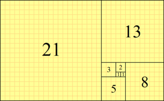 Fibonacci number - A tiling with squares whose side lengths are successive Fibonacci numbers
