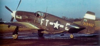 354th Operations Group - North American P-51B-1-NA Mustang 43-12457 of the 353d Fighter Squadron 354th Fighter Group at RAF Lashenden in 1944.