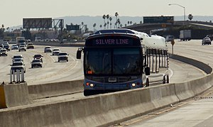 Silver Line (Los Angeles Metro) - Metro Silver Line bus on the Harbor Transitway