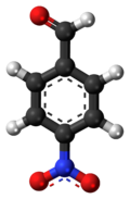 Ball-and-stick model of the 4-nitrobenzaldehyde molecule