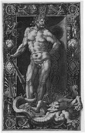 Giorgio Ghisi - Hercules, engraving by Ghisi after Giovanni Battista Bertani, 1558