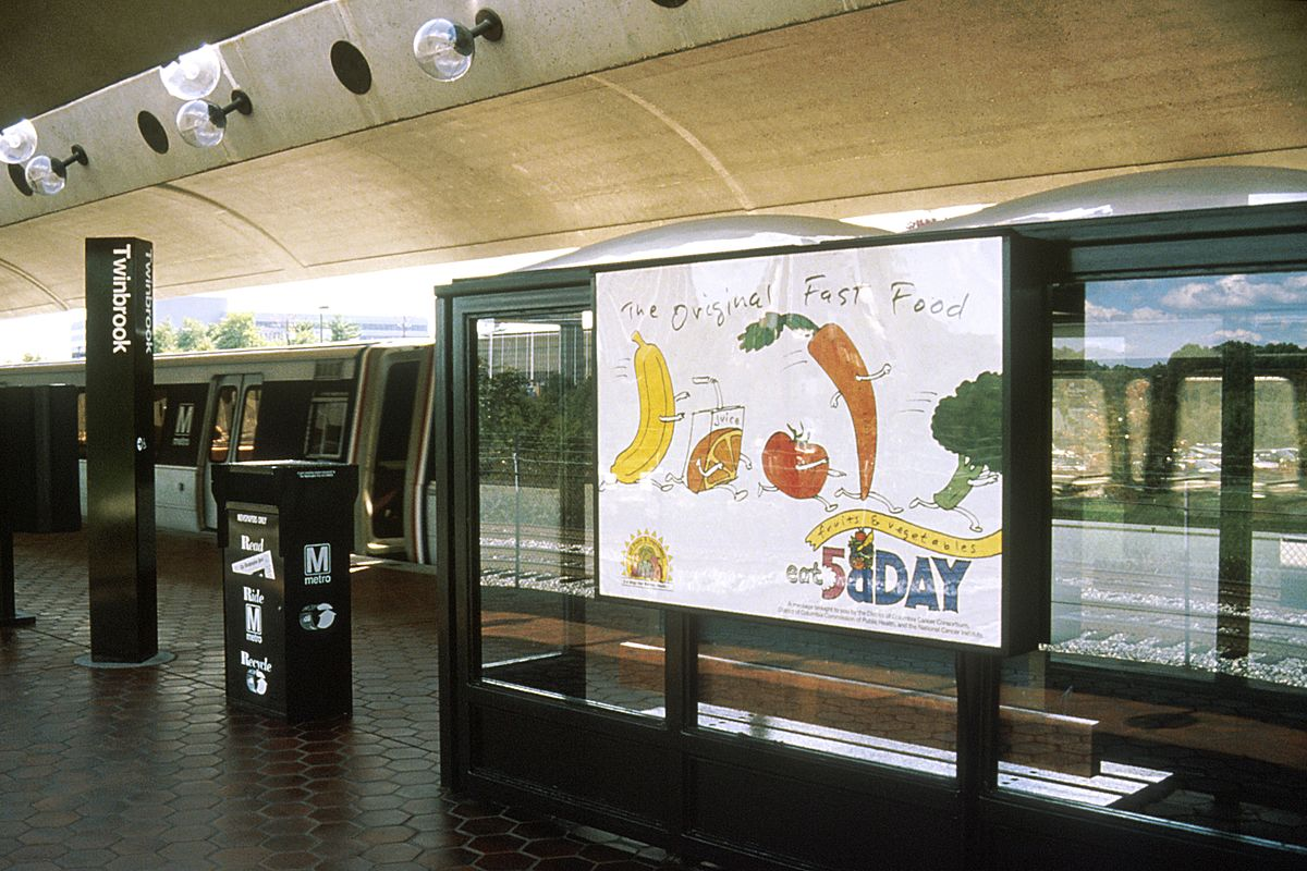 5 a day advertisement at the NIH metro