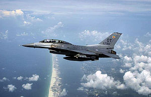 85th Test and Evaluation Squadron - 85th TES F-16D Fighting Falcon over the northwest Florida coastline during an evaluation mission in 2004