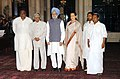 A.P.J. Abdul Kalam, the Prime Minister, Dr. Manmohan Singh and the Chairperson of UPA, Smt. Sonia Gandhi with the new inductees in the council of Union Ministers, Shri A.K. Antony.jpg
