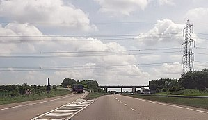 A160 road - Start of the A160 seen from the A180 at the Brocklesby Interchange
