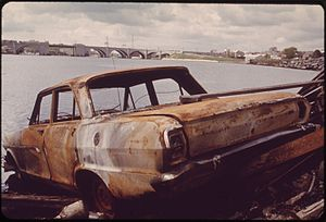 ABANDONED CAR ON SEEKONK RIVER BANK - NARA - 5...