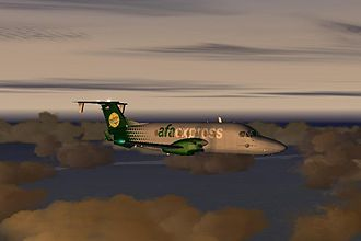 "Microsoft Flight Simulator - A PMDG Beech 1900D of ""American Flight Airways""; in AFA Express colors"