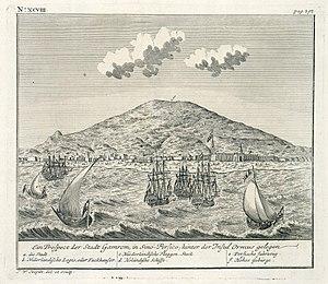 """Bandar Abbas - Prospect of """"Gamron"""", c. 1740"""