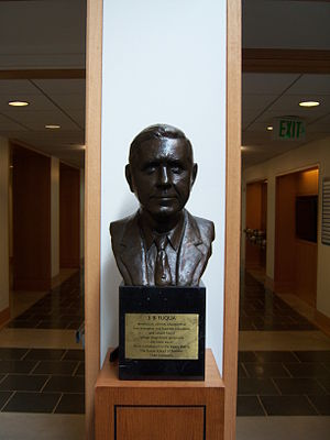 Fuqua School of Business - A Bust of J.B. Fuqua in the Hall of Flags at the Fuqua School of Business