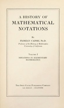 A History Of Mathematical Notations Vol I (1928).djvu