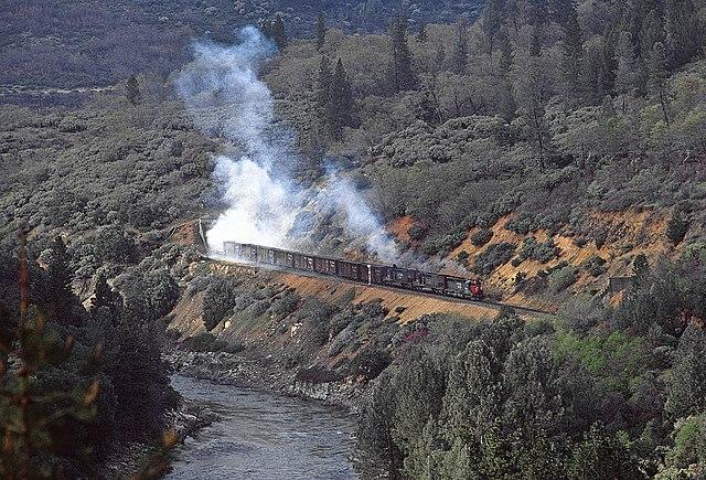 File A Sp Freight In The Sacramento River Canyon