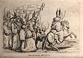 A bishop wearing a mitre is riding on a horse followed by ot Wellcome V0040836.jpg
