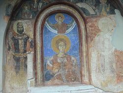 Two men, one apparently in heaven (above the other)