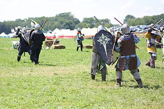 SCA armoured combat - Fighters practising at Pennsic XXXVIII (2009)
