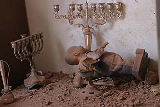 Palestinian rocket attacks on Israel - A house in Sderot hit by a Qassam rocket