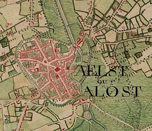 Aalst, Belgium - Aalst on the Ferraris map (around 1775).