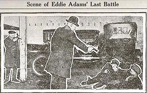 Edward J. Adams - This is a re-enactment of Adam's fatal shootout with the police, as published in the Wichita Eagle, November 23, 1921.