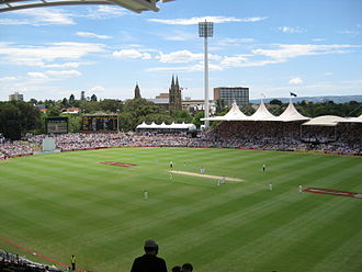 2010–11 Ashes series - Players take the field at the Adelaide Oval during the second Test