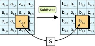 Nel passaggio SubBytes, ogni byte della matrice è sostituito con i dati contenuti nella trasformazione S; bij = S(aij).