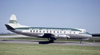 "Aer Lingus - A Vickers Viscount 808 in ""green top"" livery at Manchester Airport in 1963."