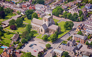 St Asaph - Aerial view of the cathedral.