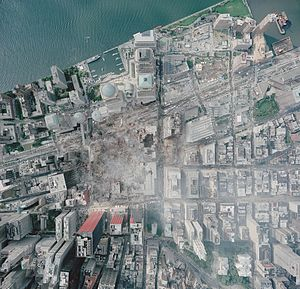 World Trade Center site - Aerial photo of the World Trade Center site, as it appeared on September 23, 2001