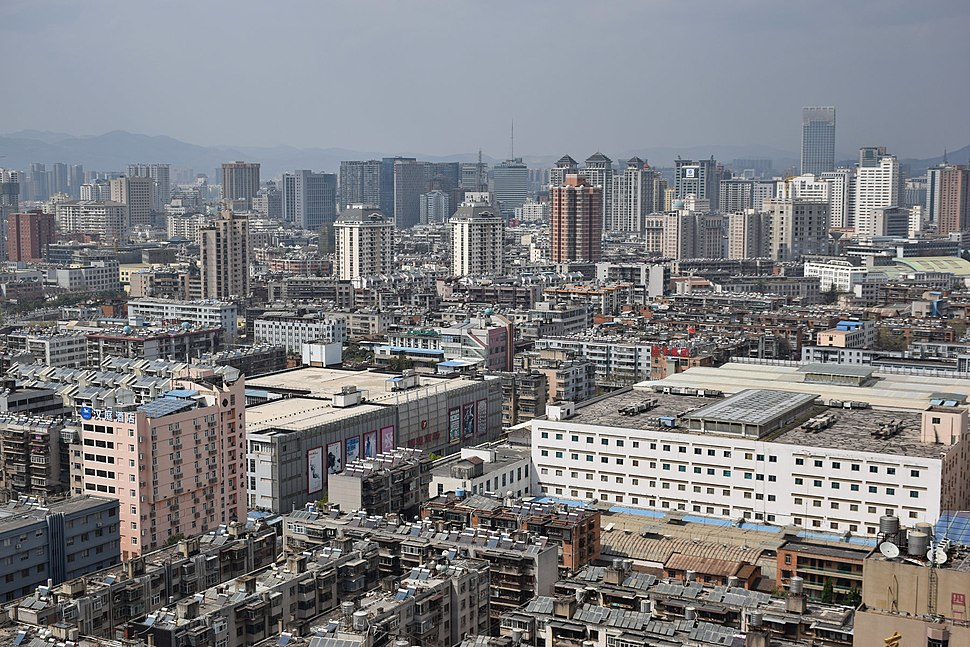 Aerial view of Downtown Kunming