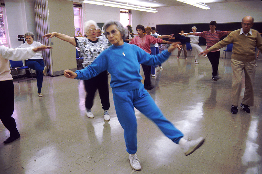A group of seniors exercise.