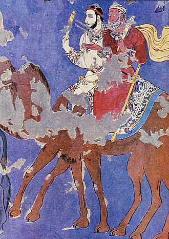 Sogdia - Detail of a copy of the Ambassadors' Painting from Afrasiyab, Samarkand, showing men on a camel, 7th century AD