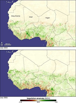 2004 Africa locust infestation - Satellite imagery of western Africa detailing the vegetation affected by locusts and drought in 2004 and 2005, respectively.