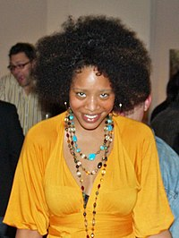 A woman with an afro at the Tribeca Film Festival