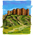 Agnes Karikaturen Armenien Festung Amberd Aragaz.jpg