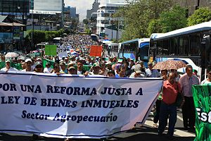 International comparisons of trade unions - Costa Rican agricultural unions demonstration, January 2011