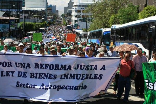 Agricultores, manifestación San José Costa Rica, enero 2011