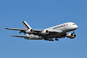 Transport - An Air France A380 on approach to Washington Dulles International Airport