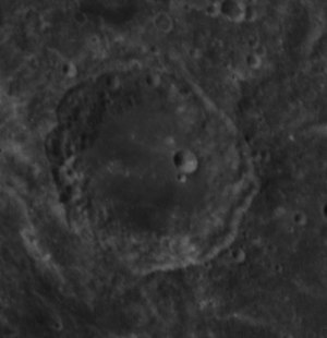 Al-Biruni - Lunar crater Al-Biruni, on the far side of the Moon, as seen by Apollo 14