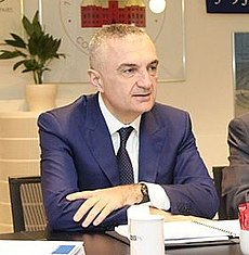 Albanian Speaker Ilir Meta and Arben Cici (Ambassador of Albania to Denmark), in a meeting with OSCE PA staff in Copenhagen, 2 April 2014 (cropped).jpg