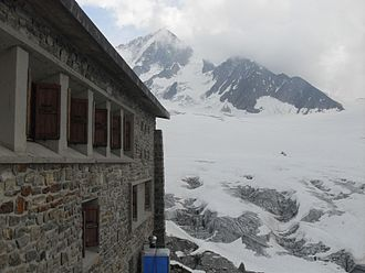 Albert Premier Hut - Albert Premier Hut with glacier in background