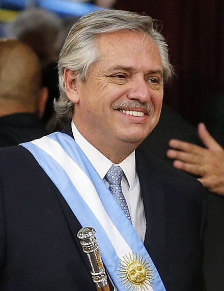 President Alberto Angel Fernandez of Argentina, as the commander-in-chief of the Argentine Armed Forces since December 10th 2019. Alberto fernandez presidente (cropped).jpg